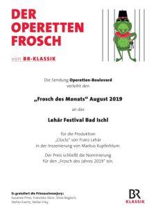 Urkunde - Frosch des Monats August 2019